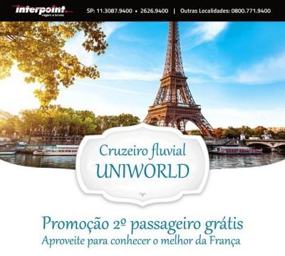 Promoção 2×1 Uniworld. Aproveite esta oportunidade para conhecer o melhor da França