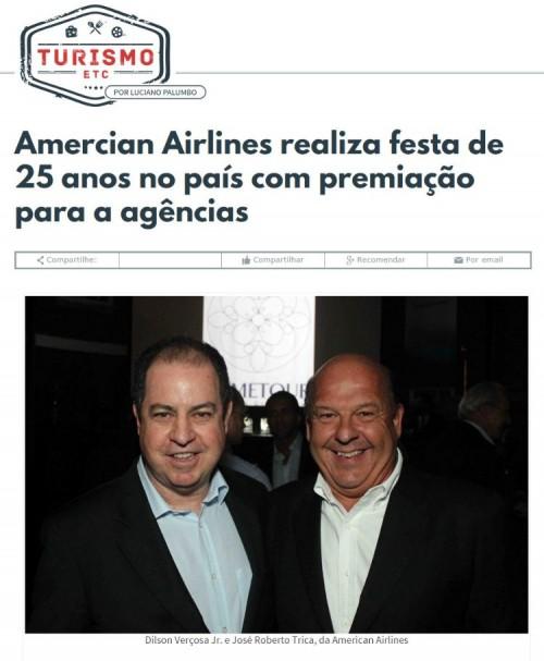 Amercian Airlines realiza festa de 25 anos no país com premiação para a agências